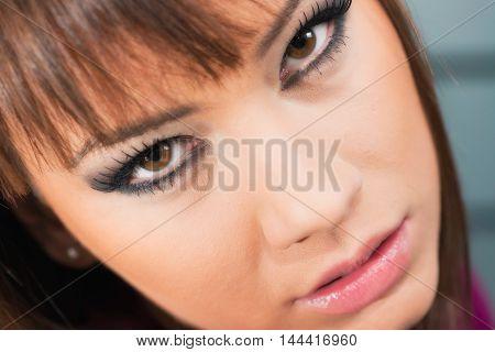 Make-up model portrait, toned image, close up,