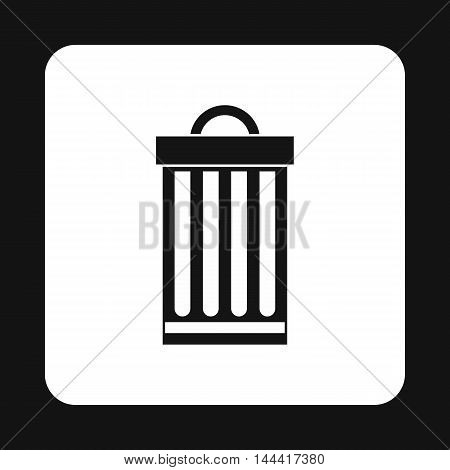 Iron trash can icon in simple style isolated on white background. Sanitation symbol