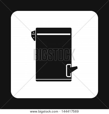 Trash bin with tilting lid icon in simple style isolated on white background. Sanitation symbol
