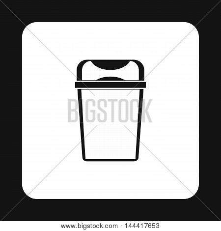 Trash bin icon in simple style isolated on white background. Sanitation symbol