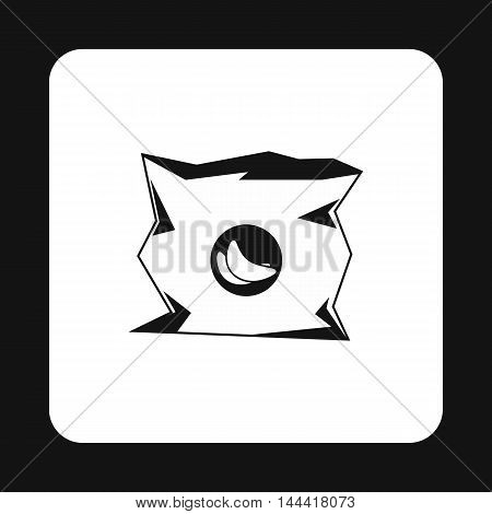 Crumpled bag of chips icon in simple style isolated on white background. Garbage symbol