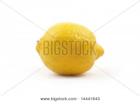 Yellow sour lemon isolated on white
