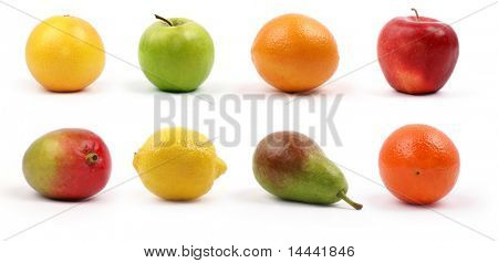 Bright tasty fruits isolated on white