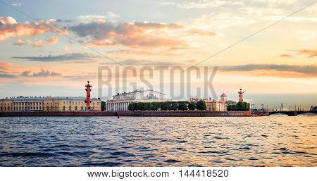 Spit of Vasilyevsky Island in the evening. St Petersburg, Russia.