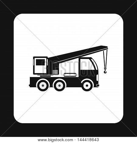 Machine with crane icon in simple style isolated on white background. Transport symbol