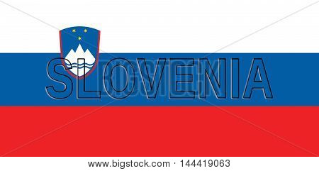 Illustration of the national flag of Slovenia with the country written on the flag