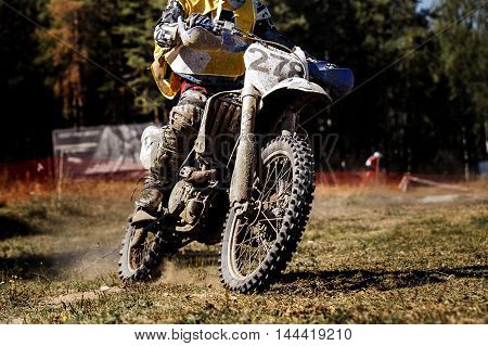 male rider on a motorcycle during races Enduro