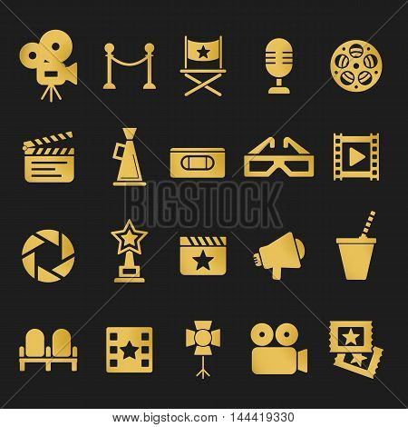 Cinema retro movies icons set. Template vector concept.