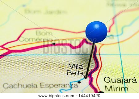 Villa Bella pinned on a map of Bolivia
