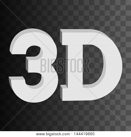 3D three-dimensional button sign in solid grayscale colors icon on black transparent background. Vector illustration.