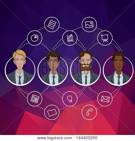 Avatars of office managers. Cartoon characters with cloud technology. Flat design concept for website template. Web banners or headers vector illustration. Vector web banner for presentation