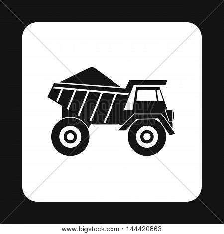 Dump truck icon in simple style isolated on white background. Transport symbol
