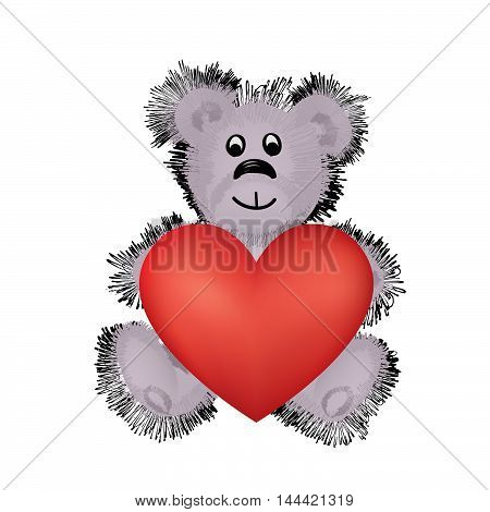 Teddy bear and big red heart. I Love You Valentine's day geeting card design concept