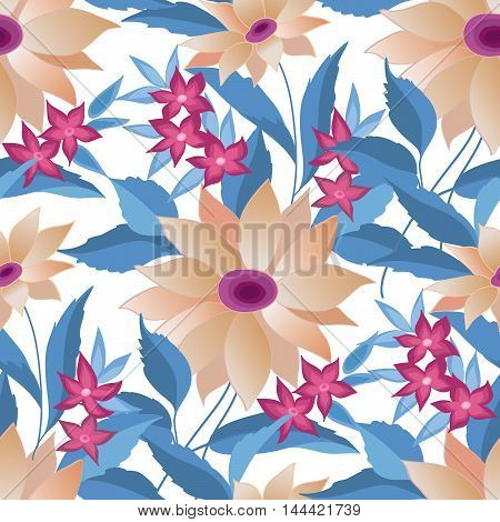 Floral seamless pattern. Flower posy background. Abstract floral ornamental texture with flowers. Spring flourish garden. Fantastic flowers  motif ornament
