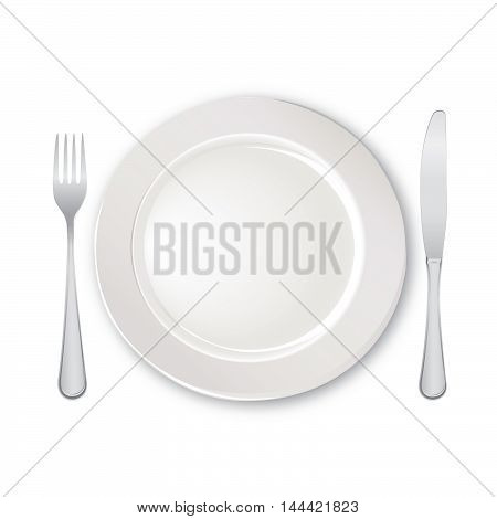 Table setting set. Fork, Knife, Spoon, Empty Plate set. Cutlery white collection. Catering vector illustration. Restaurant service. Banquet still life