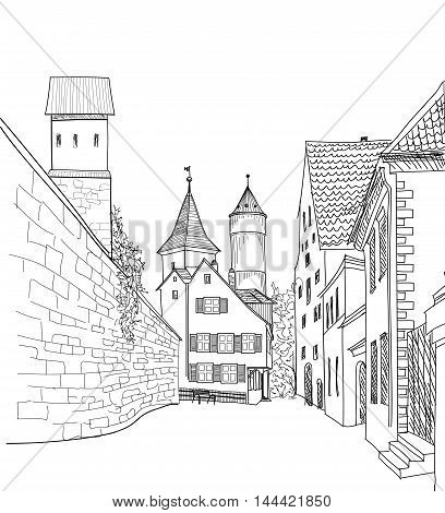 Street in old city. Cityscape - houses, buildings and tree on alleyway. Old city view. Medieval european castle landscape. Engraving vector sketch