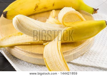 Fresh Bananas On White Textile