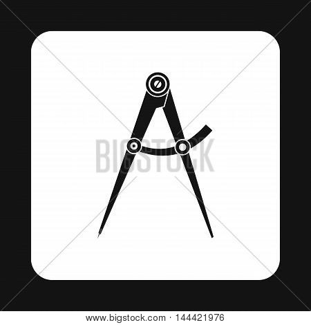Drawing compass icon in simple style isolated on white background. Tool symbol