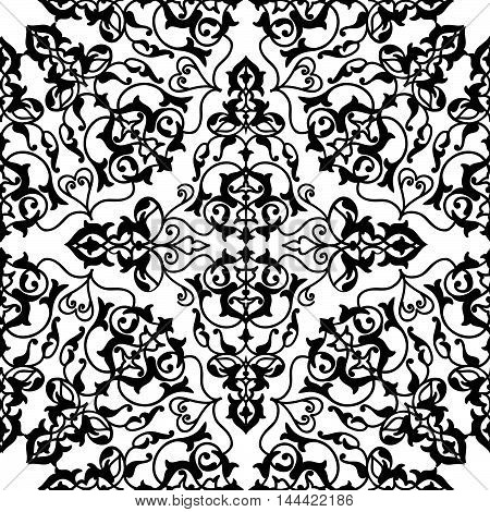 Abstract flourish seamless pattern Floral arabic geometric black and white linear ornament. Stylish abstract ornamental lace background