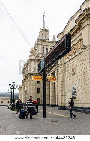 BREST, BELARUS - AUG 30, 2014: Building at the Central Railway station in Brest, Belarus. Brest railway station was found in 1886