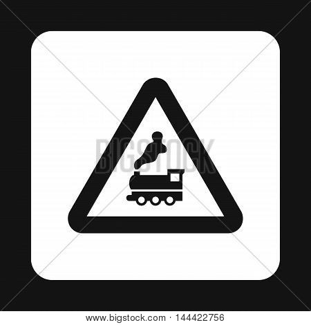 Sign railroad icon in simple style isolated on white background. Rules of the road symbol