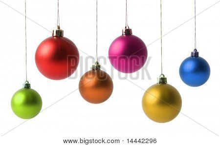 Many Christmas balls isolated on white background