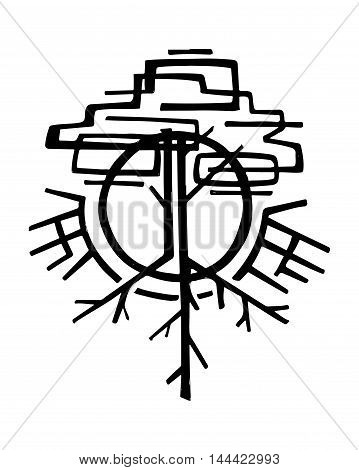 Hand drawn vector illustration or drawing of an abstract symbolic tree