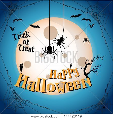Halloween Party Background with Bats, Moon and Spider. Happy halloween theme. Happy halloween greeting card. Vector illustration eps10