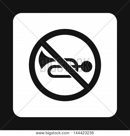 Sign no trumpet icon in simple style isolated on white background. Rules of the road symbol