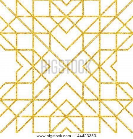 Abstract seamless geometric pattern on golden glittering texture. Vector illustration
