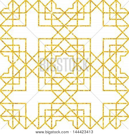 Abstract seamless geometric pattern on golden glittering texture. Arabic ornament. Vector illustration
