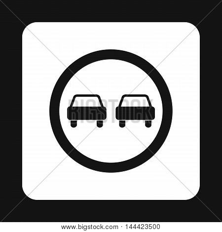 Sign overtaking icon in simple style isolated on white background. Rules of the road symbol