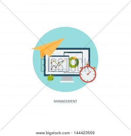 Business icon. Creative concept of financial report. Time management, aims, solutions. Flat design, minimalist style, modern colours. Vector illustrations for web, banners, infographics, app, sites