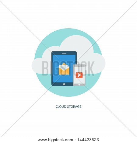 Cloud computing service icon. Creative concept of data storage network technology. Multimedia content and web hosting. Memory and info transfer. Flat design style, modern colours. Vector illustration