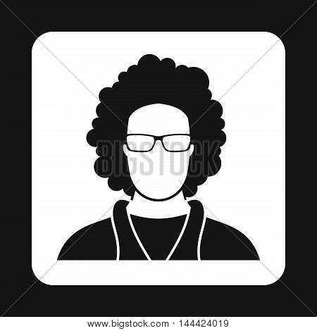 Male afro avatar icon in simple style isolated on white background. People symbol