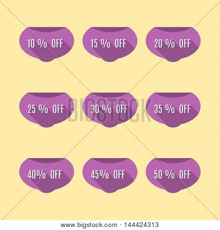A set of nine labels discounts of ten to fifty percent in steps of five long diagonal shadow and flat style vector illustration.