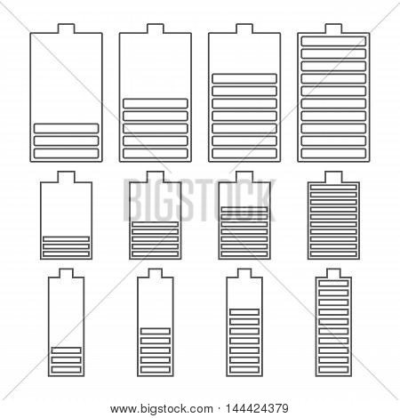 Set outline icons battery level low medium full. The flat style and thin lines the vertical arrangement of the power supply components. Isolated on white background vector illustration.