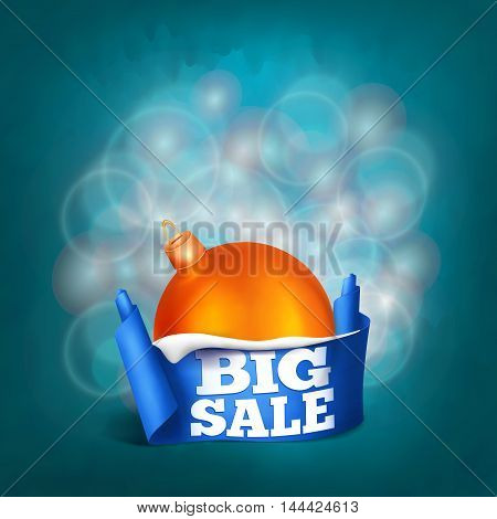Blue realistic curved ribbon paper big sale banner. New year concept. Vector illustration