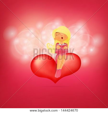 Cute young girl character sitting on pink heart embracing her diary. Vector card template