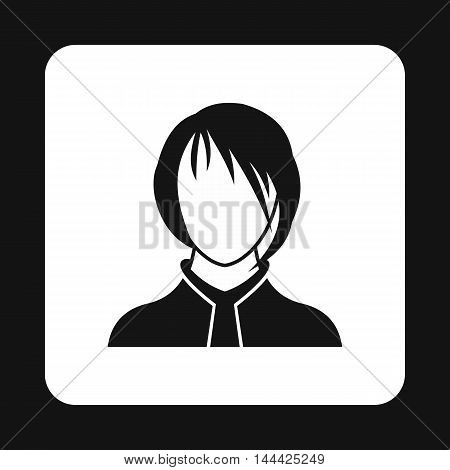 Woman with bangs avatar icon in simple style isolated on white background. People symbol