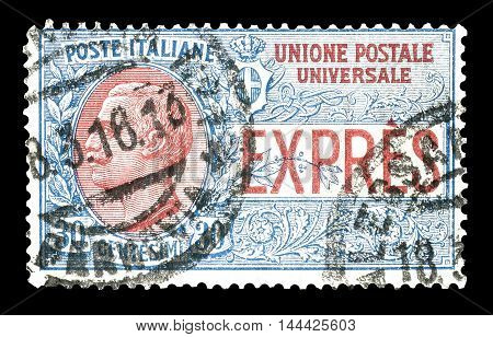 ITALY - CIRCA 1917 : Cancelled postage stamp printed by Italy, that shows that shows Victor Emanuel III.