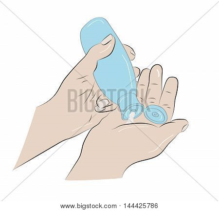 cream on the hands for skin care or massage. vector illustration
