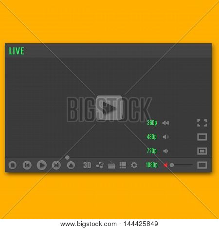 Template video player with icons. Play online video music and radio. Web interface design element. Vector illustration.