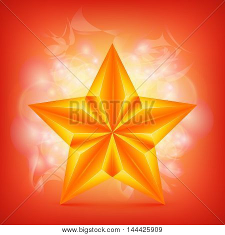 Golden Star over abstract shiny background. Vector illustration
