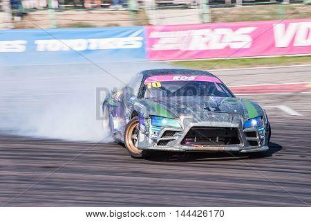 Nizhny Novgorod Russia Aug 20, 2016 : Russian Drift Series Stage 5 RDS Zapad West Smirnov Pavel Toyota Supra.