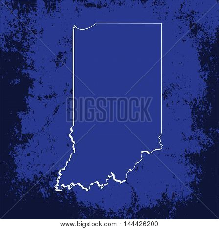 3D Indiana State USA Grunge Blueprint Outline Map