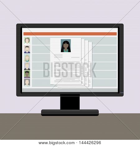 View resume on a computer monitor the choice on the internet employee women african american