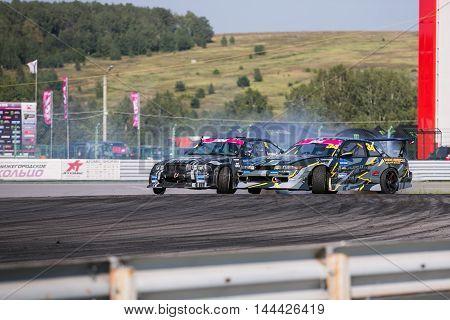 Nizhny Novgorod Russia Aug 20, 2016 : Russian Drift Series Stage 5 RDS Zapad West. Oleg Chernyshev vs Satyukov Eugene. BMW M3 E36 Nissan Silvia S13.
