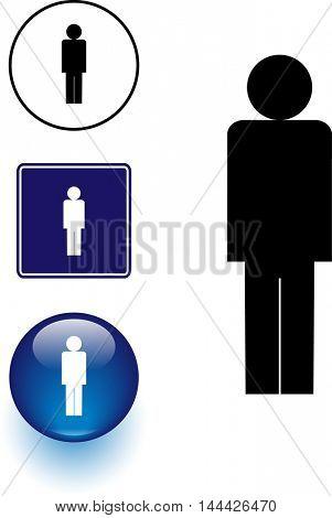 male person symbol sign and button