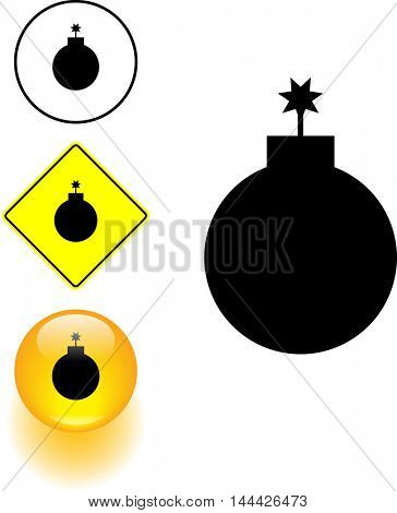 round bomb symbol sign and button